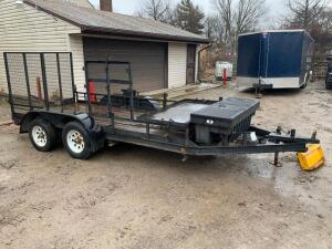Tandem axle 12ft trailer with tool box