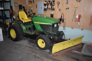 John Deere 4110 Tractor- Diesel, 3pt Hitch, PTO, Snow Blade, Mowing Deck, 339 Hours