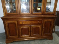 VERY NICE FORMAL CHINA CABINET, HAS LOTS OF STORAGE AND IS LIGHTED, COMES WITH GLASS SHELVING FOR INTERIOR, VERY BEAUTIFULLY MADE - 2