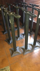 (2) pedestal table legs with 1 tabletop; tabletop was not available for photograph.  Tabletop will be there for pick-up