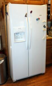 "Frigidaire Side By Side Refrigerator Freezer With Ice Maker And In Door Dispenser, Model FFS2615TP2, White, 70"" x 36.5"" x 35"", Bidder Responsible For Proper Disconnection Of Water Line And Removal"
