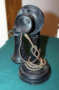 "Antique Kellogg Candlestick Telephone, 11.5"" Tall"