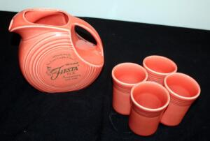 Homer Laughlin Fiesta Persimmon 60th Anniversary Disc Pitcher With Four Matching Cups