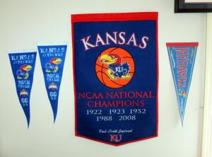 "Kansas National Champions Pennant From 2008, 37.75"" x 24"", With 3 Smaller KU Pennants"