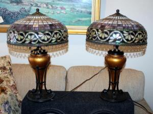 "Stained Glass Style Table Lamps With Beaded Iridescent Shades And Claw Feet, Qty 2, 24"" Tall x 16"" Round, Includes 24"" Round Side Table With Crocheted Tablecloth"