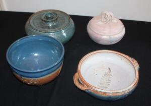 "Pottery Collection Including Matching ""Gates"" Signed Handled Shallow Bowl And Deep Bowl, Unmarked Large Bowl With Lid, & Small Lidded Bowl Signed ""Barbara Trobeck KC, MO"""