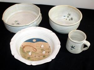 "Pottery Collection Including Matching Three Piece Dish/Bowl/Mug Set Signed By The Artist, And Barnyard Scene Dish Signed ""Cowger"""