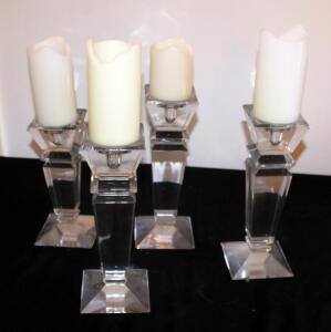 "Heavy Glass Candlestick Set, Total Qty 4, 9.5"" To 12"" Tall, Includes Battery Operated Candles"