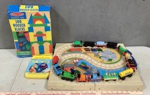 Toy Train and Wood Blocks