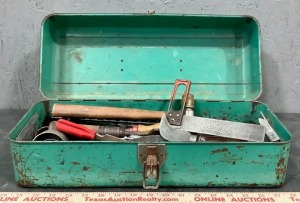 Metal Tool Box with Hand Tools