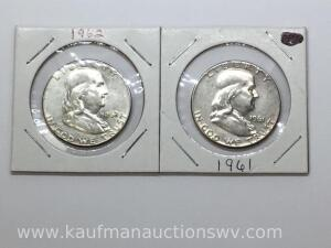 1961 and 1962 Franklin half