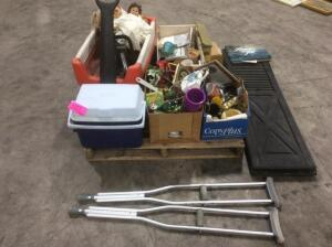 Pallet of Estate Items- Wagon, Dolls, Cooler, Misc.
