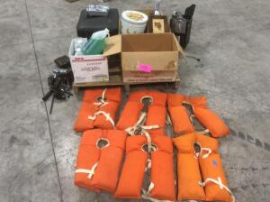 Pallet of Estate Items- Life Jackets, Coffee Maker, Pictures, Foot Rest