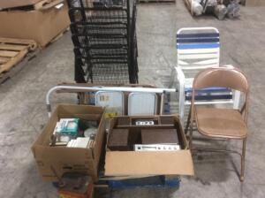 Pallet of Estate Items- Chairs, Gas Cans, Books
