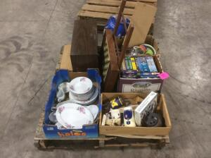 Pallet of Estate Items- Dishes, Tapes, Household Items