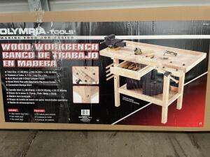 Olympia Tools Wood Workbench, 49.61in x 24.02in x 33.86in