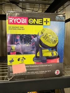 Ryobi 18v Bucket Top Misting Fan, includes Battery and Charger, inv #to20