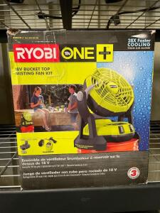 Ryobi 18v Bucket Top Misting Fan, includes Battery and Charger, inv #c5157