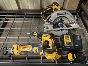 DeWalt 20v Circular Saw, Drywall Screwdriver, Cordless Cutout Tool, includes Battery and Charger, inv #c5395