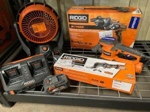 Ridgid 18v Hammer Drill, Fan, Electric Sander and Multi Tool, includes (1) Battery and Charger, inv #c519, c5196