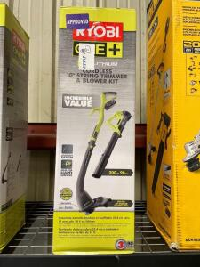 Ryobi 18v Cordless 10in String Trimmer and Blower Kit, includes Battery and Charger, inv #c5345