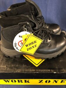 WORK ZONE N677 BLACK SIZE 9 WORK BOOTS