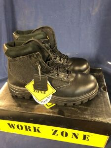 WORK ZONE N677 BLACK SWAT SIZE 6 WORK BOOTS