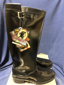 CHIPPEWA 17 IN BLACK STRAPLESS RUGGED TROOPER SIZE 10.5D BOOTS
