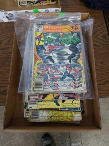 Flat of Vintage Comic Books Mostly Spiderman with