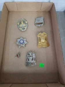 Flat of Antique Police Badges