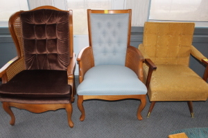 2 Wooden cushioned chair and cushioned rocking chair