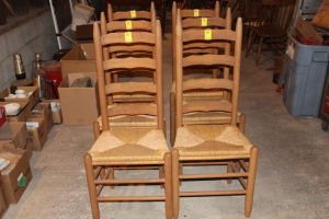 6 Cane bottom chairs