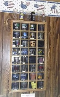 Shot Glass Display Cabinet With Glasses & Framed Flying Ducks Print