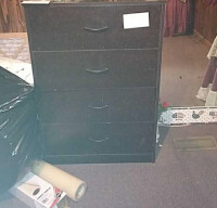4-Drawer Dark Wood Dresser (contents on top not included)