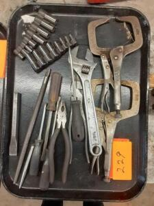 Lot Of Hand Tools Vice Grips, Screwdrivers, ETC (TRAYS DO NOT GO)