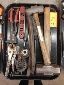 Lot Of Hand Tools Level, Rivet Gun, Hammers, ETC (TRAYS DO NOT GO)