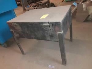 Black Metal Table With Openable Top Compartment