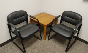 (2) Waiting Room Arm Chairs & Wooden End Table