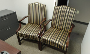 (2) Striped Arm Chairs