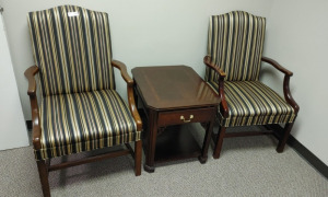 (2) Striped Arm Chairs & Wooden End Table