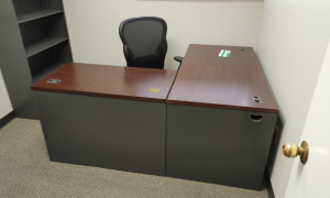 """L"" Shaped Metal Desk With Wood Top, Rolling Office Chair & 2-Drawer Metal Filing Cabinet"