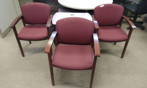 (3) Waiting Room Arm Chairs & Rolling Media Cart