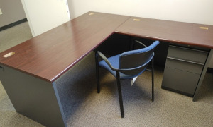 """L"" Shaped Metal Desk With Wood Top, Chair & 2-Drawer Metal Filing Cabinet"