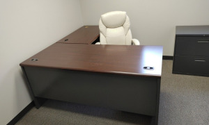 """L"" Shaped Metal Desk With Wood Top, Rolling Office Chair & Metal 3-Drawer Storage Cabinet"
