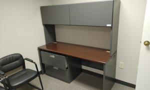 Metal Desk with Hutch & Metal 2-Drawer Lateral Filing Cabinet