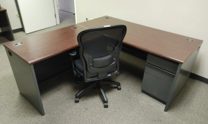 """L"" Shaped Metal Desk With Wood Top, Rolling Office Chair & 3-Drawer Storage Cabinet"