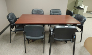 Wooden Conference Table With (6) Rolling Office Chairs