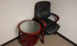 Arm Chair & Round Glass Top End Table