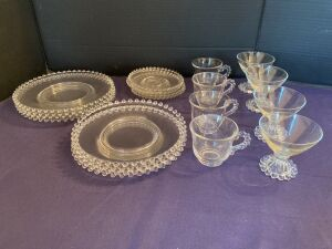 Candlewick plates and cups - 4 of each item shown