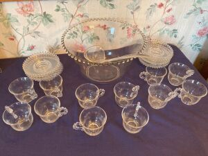 Candlewick punch bowl, 12 cups and 12 saucers